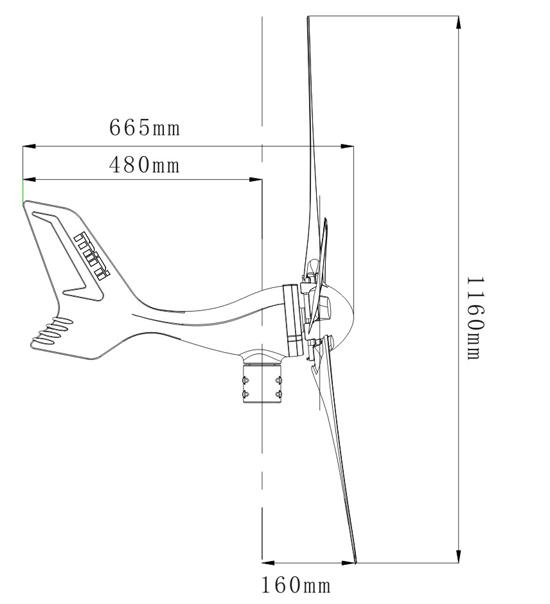 Pequeno tamanho da turbina eólica gráfico